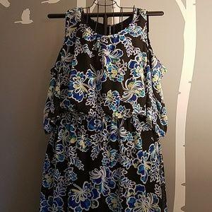 Hi lo cold shoulder maxi dress & blousson waist